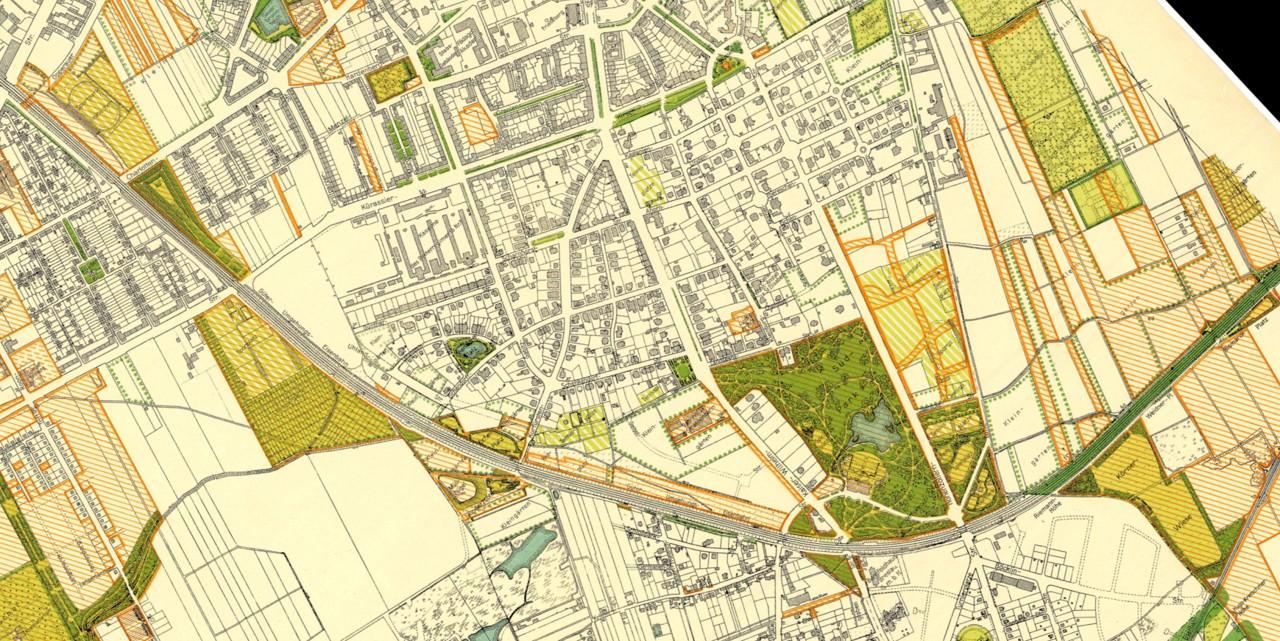 Plan Wrocławia z 1934 r.– obszar całej Promenady Krzyckiej, Biblioteka Cyfrowa Uniwersytetu Wrocławskiego